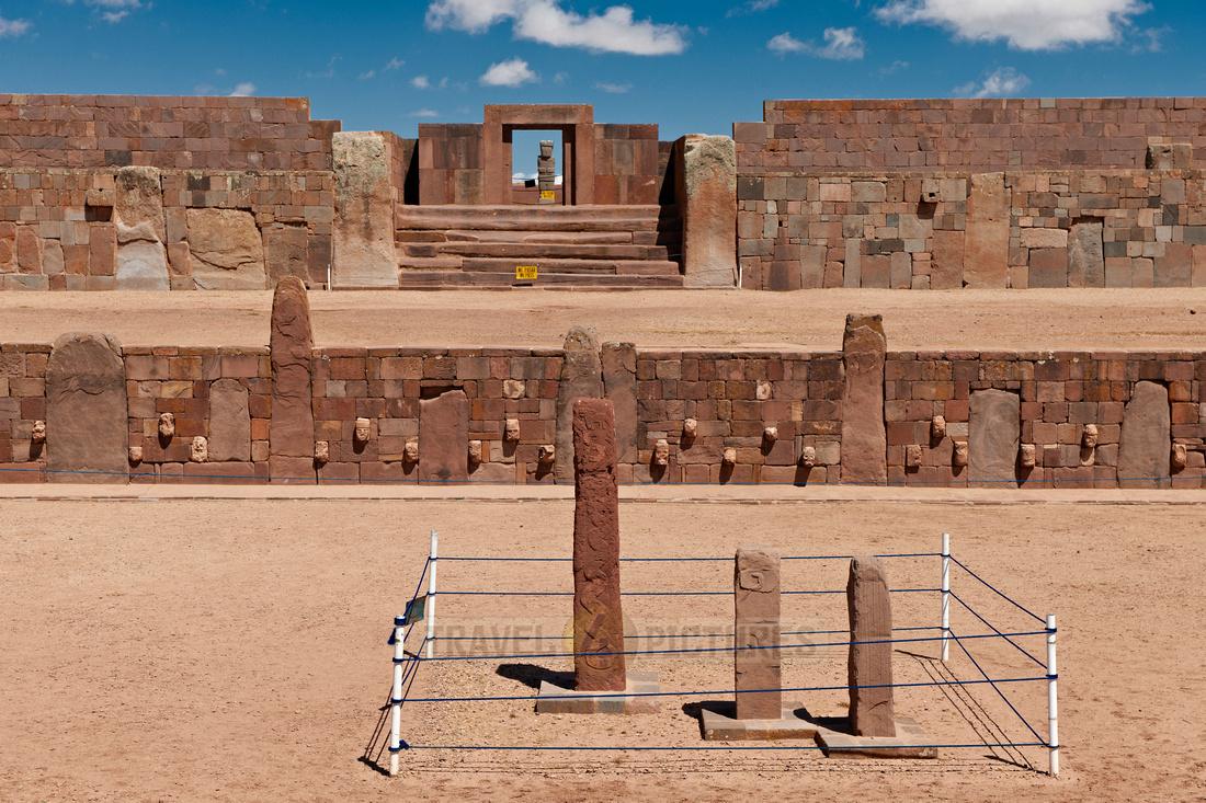 three steles in semi underground temple