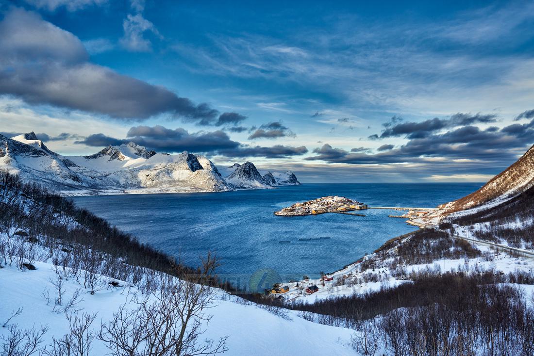 winter landscape in fjord of Husøy