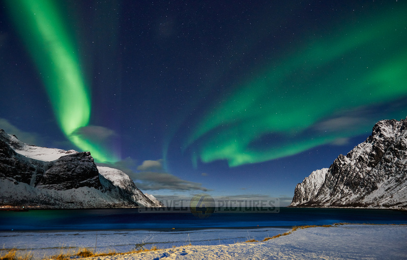 Aurora Borealis or northern lights at Ersfjorden