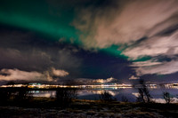 Aurora Borealis or northern lights over Tromso