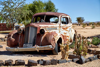 rusty classic car as decoration in Canyon Road House