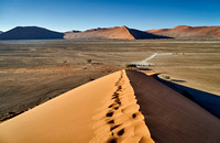 view from dune 45 into valley, desert landscape of Namib