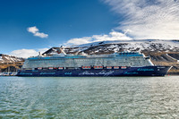 huge cruise ship in harbor of Longyearbyen