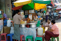 Street scene with food stall