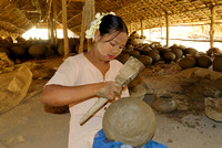 woman working in pottery
