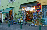 Exterior shot of a shop with typical ceramics from majolica distilleries