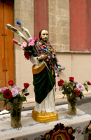 Jesus figure decorated with flowers