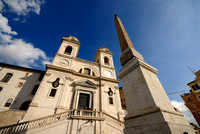 church Trinita dei Monti and obelisk at Spanish Steps