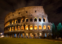 illuminated Colosseum at night