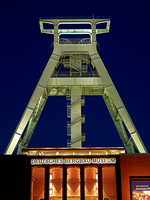 night shot of illuminated German mining museum, Bochum