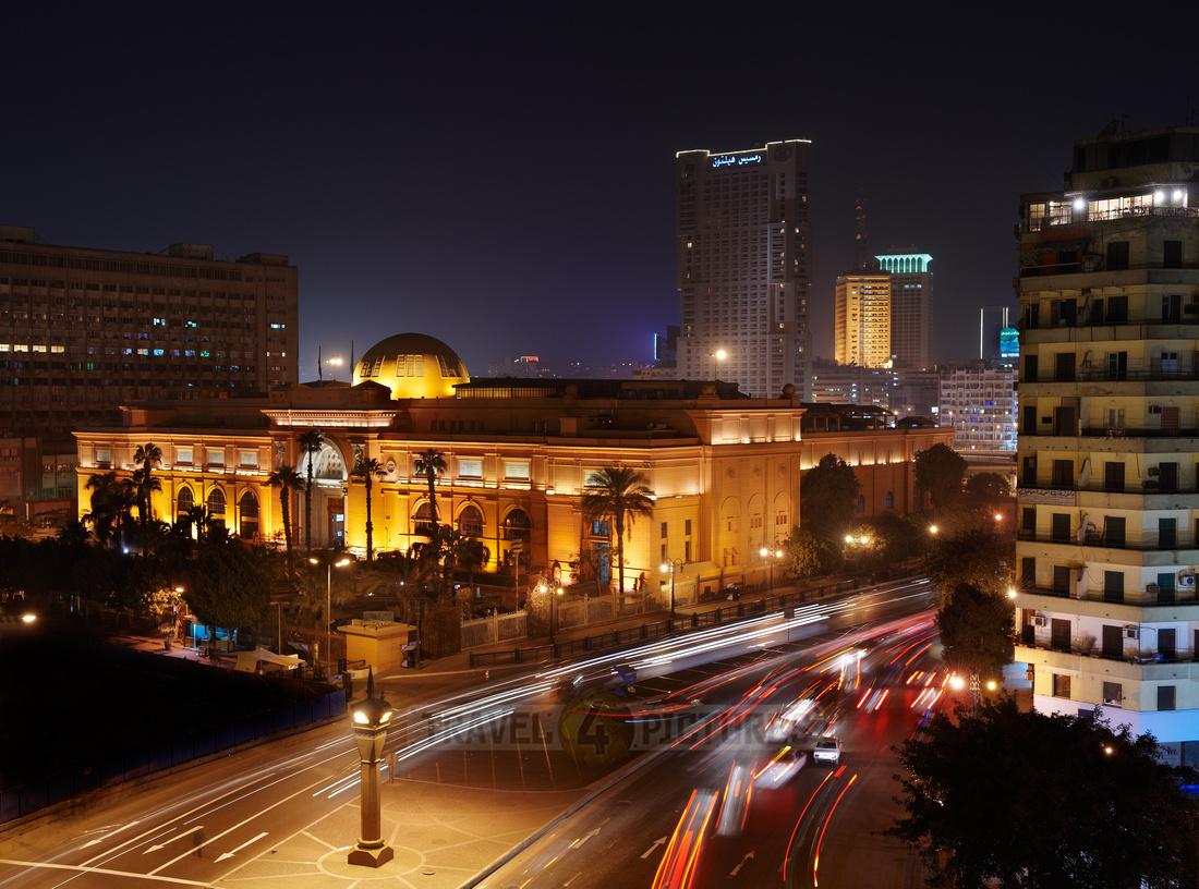 night shot of Egytian Museum