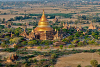 birds eye view of golden dome of stupa