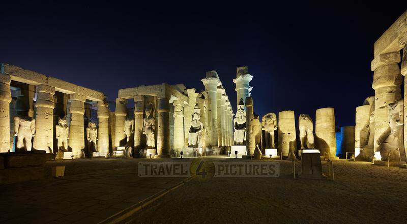 night shot Peristyle Courtyard of Ramesses II inside Temple