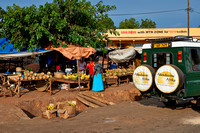 market stalls with pineapple and bananas