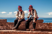 traditionally dressed men, ISLA TAQUILE