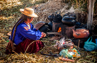 Indigena of local Uros tribe on floating reed islands