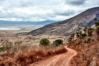 road from the rim into the Ngorongoro crater