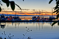 sunset at yacht harbour of Lund