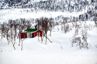 mountain winter landscape with typical red house on Senja Island