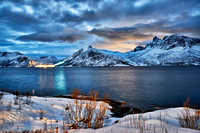 night shot ofwinter landscape in fjord of Husøy|