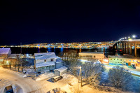 night view over harbour and city of Tromsø