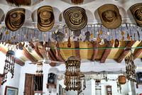 decoration with hats in restaurant