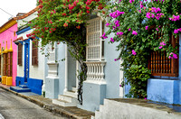 typical colorful facades with flowers