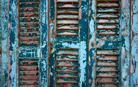 weathered blue shutters