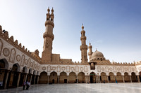 Al Ashar Mosque inner courtyard and minaret