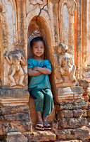 boy in ruins of Shwe Inn Thein