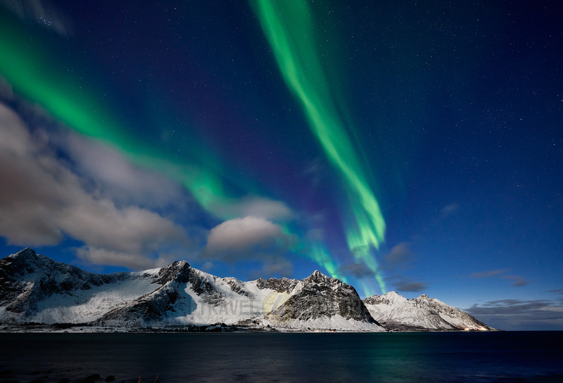 Aurora Borealis or northern lights at Ersfjorden