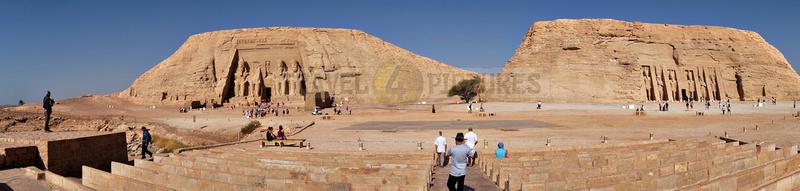 panorama temple of Nefertari and Great Temple of Ramesses II