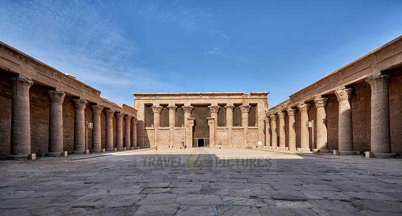 Colonades surrounding the peristyle court and Horus Temple of Edfu