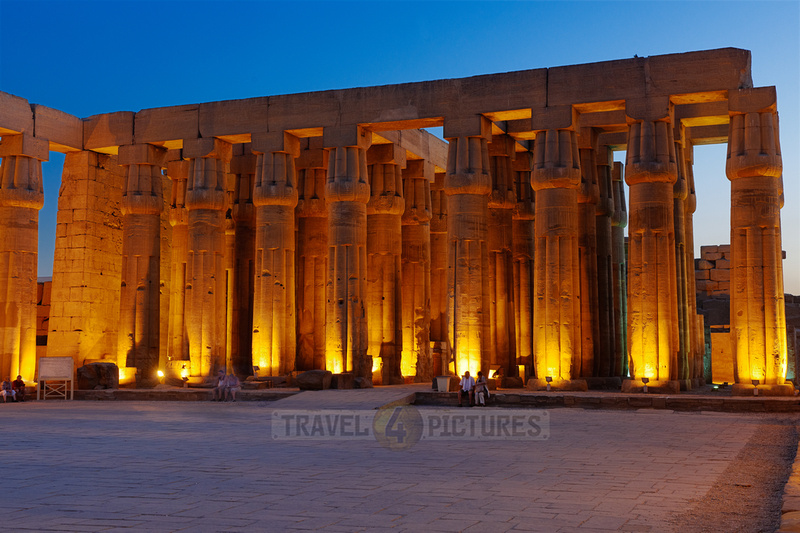 night shot of peristyle or Sun Court of Amenhotep III