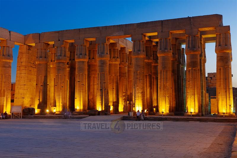 night shot of peristyle or Sun Court of Amenhotep III