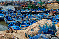 fishing nets and boats in harbor of Essaouira