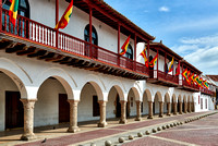 "flags of Cartagena at historical facade of town hall ""Alcaldia Mayor"""