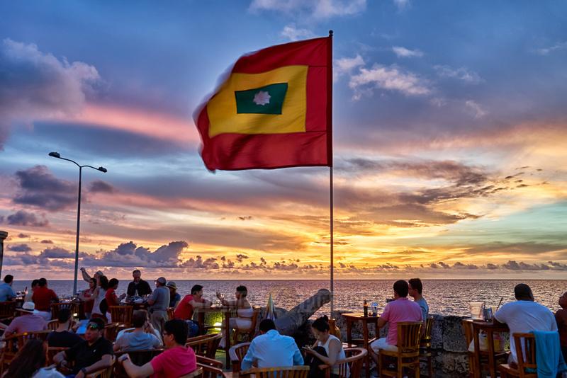 Cartagena flag at sunset