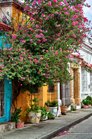 facades with flowers in Getsemani