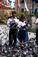 locals making pictures with pigeons, Plaza Murillo