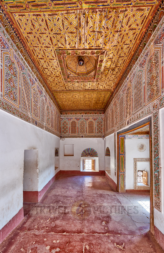 inside shot with decorated ceiling inside Kasbah Taourirt