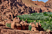 spectacular rock landscape with casbah