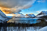 Panorama winter landscape of Bergsfjorden