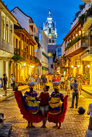 night shot of a street scene in Cartagena