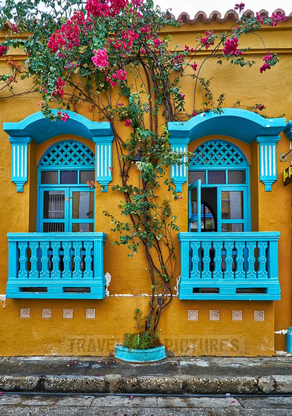 typical colorful facades of Cartagena