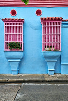 typical colorful facades of Cartagena