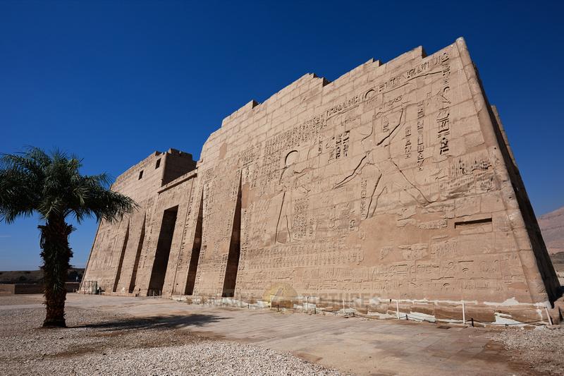 first pylon inside Mortuary Temple of Ramesses III